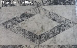 Diamond geometric marble floor