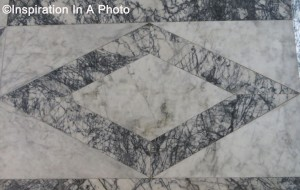 Diamond geometric marble floor