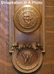 Door knob with state seal_close-up