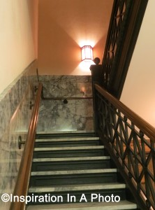 Stairwell with sconce