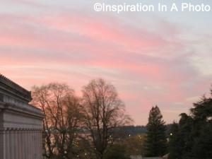 Sunset over city_pink sky