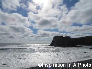 Sunny beach_volcanic rocks